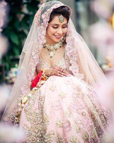 Astounding Pastel Lehengas That Are In Vogue This Season Banarasi Lehenga, Pink Lehenga, Bridal Lehenga, Indian Wedding Jewelry, Indian Hairstyles, Bridal Portraits, Hair Jewelry, Ball Gowns, Pastel