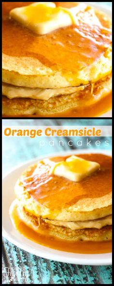 These Orange Creamsicle Pancakes with Orange Syrup are orange flavored pancakes with a sweet cream filling. The orange syrup is sweet, tangy, and yummy! Orange Creamsicle, Pancakes Easy, Pancakes And Waffles, Dinner Pancakes, Brunch Recipes, Breakfast Recipes, Brunch Ideas, Breakfast Ideas, Sweet Breakfast