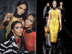 Rihanna in W Magazine September 2014 wearing Balmain Fall 2014 yellow knit dress
