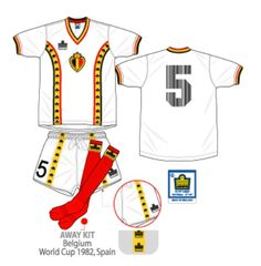 Belgium away kit for the 1982 World Cup Finals.