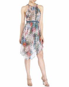 $445 Elizabeth and James Multi Silk Chiffon Liv Asymmetric Dress 6 NWT E414 #ElizabethandJames #AsymmetricalHemCorset1valueperline #Cocktail