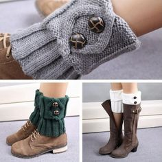 a841ac080eaf1 Women Girls Winter Leg Warmer Socks Button Crochet Knit Boot Socks Toppers  Cuffs  ebay