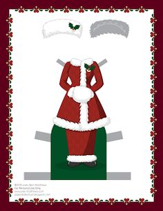 Paper Doll School: December Paper Doll -- Mrs Claus Paper Doll, Outfit 12