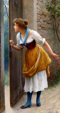 "Eugene de Blaas (1843-1931)  The Eavesdropper  Oil On Panel  -1906  80 x 44.5 cm  (31½"" x 17.52"")"