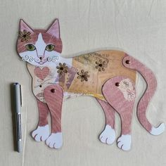 Ginger Cat Movable Art Cat Paper Doll Folk Art Laminated Articulated Collage Wall Art Hangs in several positions 11 inches tall Paper Puppets, Paper Toys, Paper Crafts, Paper Artwork, Craft Club, Crafty Kids, Ginger Cats, Wall Collage, Collage Sheet