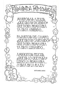 Poemas y rimas infantiles de la primavera para niños Spanish Teacher, Spanish Classroom, Teaching Spanish, Teaching Resources, Spanish Songs, Spanish Lessons, Vintage Funny Quotes, Preschool Poems, Spring Poem