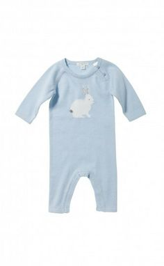 Knitted Growsuit - Powder Blue   Purebaby