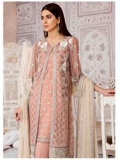 Excited to share this item from my shop: Original Zaryab By Flossie Embroidered Chiffon Unstitched 3 Piece Suit 10 - Luxury Collection Salwar Dress, Anarkali, Stylish Suit, Pakistan Fashion, Desi Clothes, 3 Piece Suits, Pakistani Bridal, Designer Wear, Chiffon Dress