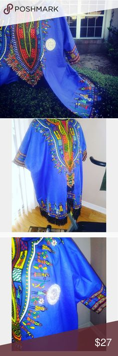 Dashiki Cardigan Custom cardigan Angelina fabric %100 cotton.  Size M/L Dashiki long cardigan with emblishment.  I am a size meduim. I will use a better photo with me dressed up. But for now I am using this pic. This cardigan can fit large and XL depends on how you like it to fit. Other