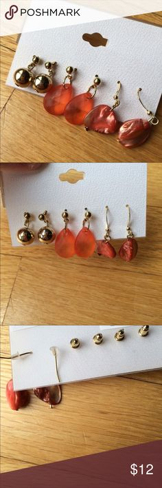 NEW Orange Shell & Gold Earrings Set of 3 Brand new with tags.  ❌Final markdown, no offers❌ Jewelry Earrings