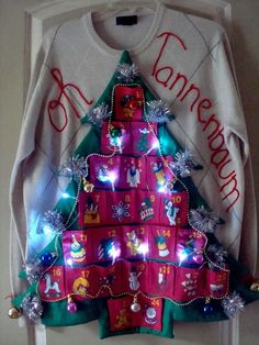 Ugly Tacky MENS Christmas Tree Sweater Lights O Tannenbaum PARTY WINNER #DOCKERS #Crewneck