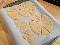 Make your own tortilla chips with no oil. Preheat oven to 350F and line a cookie sheet with parchment paper. Cut corn tortillas into triangles and place on prepared cookie sheet. Bake 8-10 minutes or until crisp, but be careful not to burn. The chips also crisp slightly as they cool. Sprinkle with seasonings before baking, if desired.