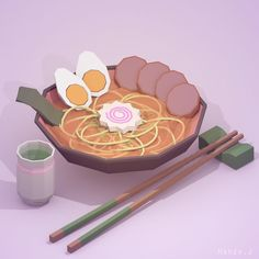 """Ramen and green tea. #ramen #tea #japan #meal #food #lowpoly #blender #photoshop #design"""