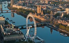 The Houses of Parliament are reflected in the Thames, behind the London Eye