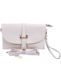 Beige Vintage Buckle Leather Shoulder Bag US$35.90