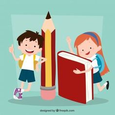 Funny background of children with school supplies Free Vector