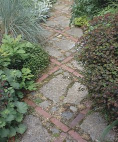 Diagonals add interest to a paving design. Tom Vetter used recycled brick to outline a crisscross pattern and combined it with stone and broken concrete. This walkway runs through a narrow garden along the side of his house in Portland, Oregon. Patio Pergola, Backyard Landscaping, Rock Walkway, Brick Pathway, Brick Paving, Stone Walkway, Paving Stones, Stepping Stones, Broken Concrete