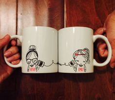 Best Friend Long Distance Coffee Mug SET (TWO MUGS) by SincerelyEunice on Etsy https://www.etsy.com/listing/236914978/best-friend-long-distance-coffee-mug-set