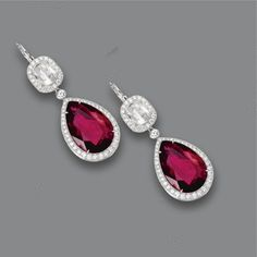 PAIR OF RUBELLITE AND DIAMOND EARRINGS Estimate  8,000 — 12,000  USD  LOT SOLD. 45,400 USD