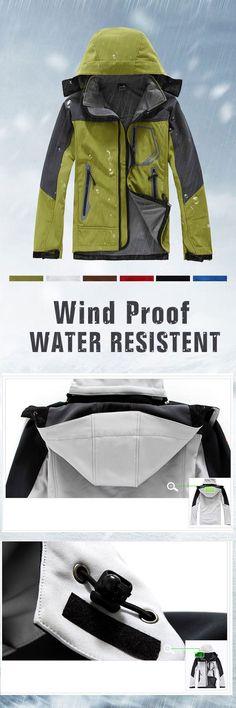 US$40.37 Plus Size Winter Water Resistent Wind Proof Fleece Outdoor Skiing Parka Jacket for Men