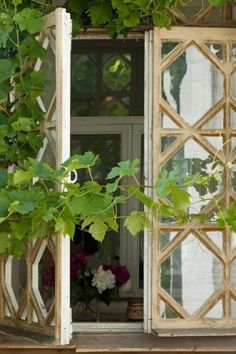 Look for beautiful old windows to repurpose. Salvage yards are a great place to start.