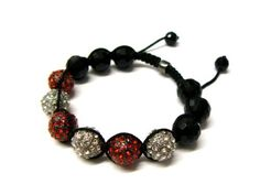 Two Tone Red & Silver Shamballa 12mm Glass Beaded Macrame Bracelet with 6 Alternating Iced Out Disco Balls JOTW. $9.95. 100% Satisfaction Garunteed!. Great Quality Jewelry!. Unique adjustable pull string cobra stitched lanyard design.