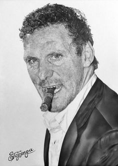 Pencil drawing showing the actor Ralf Moeller