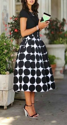 Black Circle Midi Skirt