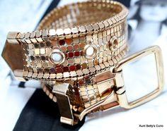 Bracelet gift for me, Wife Bracelet idea, Unique friend jewelry gift, 1940s Rose gold, 14kt gold filled, Belt buckle Friendship bracelet,
