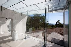 MIDTÅSEN SKULPTURPARK | Skandinaviska Glassystem Concrete Wall, Concrete Floors, Laminated Glass, Glass Roof, White Marble, Pavilion, Norway, Facade, Building