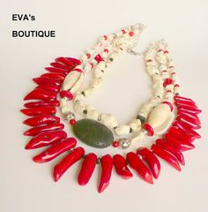 Very large statement bib necklace with white howlite by evarugina