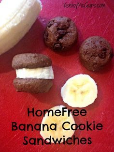 HomeFree Banana Mini Cookie Sandwiches!  Allergy-Free: Gluten, Nut, Egg, & Dairy FREE. Organic & Whole Grain Cookies.