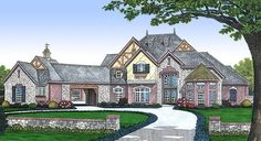 Stunning French Country Home - 48236FM | 1st Floor Master Suite, Butler Walk-in Pantry, CAD Available, Den-Office-Library-Study, European, French Country, Luxury, MBR Sitting Area, Media-Game-Home Theater, PDF, Photo Gallery, Tudor | Architectural Designs