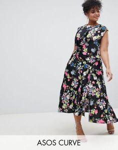 ff6a11dce0f72 ASOS DESIGN Curve drape midi dress in floral print Dress Clothes For Women