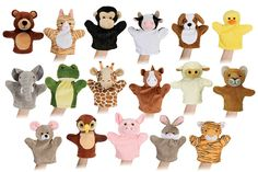 "ANIMAL HAND PUPPET Set - Plush, 8"".   Complete Set includes:  Bear - Cat - Chimp -Cow - Dog - Duck - Elephant - Frog - Giraffe - Horse - Lamb - Lion - Mouse - Owl - Pig -Rabbit - Tiger"