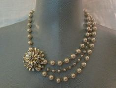 Vintage Style Bridal Necklace, Upcycled Vintage Multi- Strand Pearl and Crystal Brooch Necklace