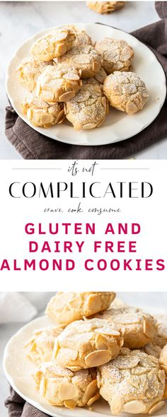 Gluten-Free Almond Cookies - It's Not Complicated Recipes it's so easy to make these cookies and they're delicious! i really like the almond flavor so i more than double the almond extract New Year's Desserts, Christmas Desserts Easy, Delicious Desserts, Yummy Food, Diabetic Desserts, Simple Christmas, Christmas Cookies, Gluten Free Almond Cookies, Gluten Free Desserts