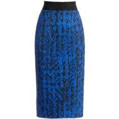 Rental Milly Scribble Print Skirt ($75) ❤ liked on Polyvore featuring skirts, dresses, blue print skirt, pencil skirt, pattern skirt, blue skirt and patterned pencil skirt