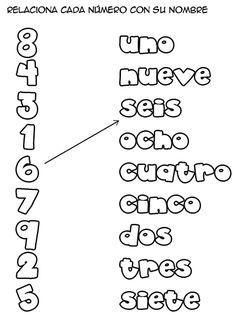 Relacionar los números con sus nombres