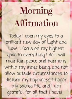 Morning Affirmations, Focus On Me, Peace And Harmony, Morning Motivation, Morning Quotes, New Day, Motivational Quotes, Thoughts, Sayings