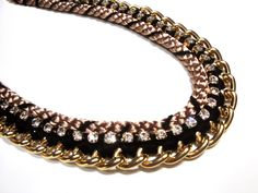 Items similar to Black, gold and taupe necklace with rhinestone detail on Etsy Diy Necklace, Necklaces, Needlecrafts, Yarn Crafts, Black Gold, Greek, Artists, Trending Outfits, Detail