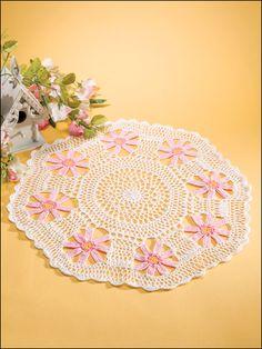 Crochet Doilies - Floral Doily Crochet Patterns - Pink Daisies
