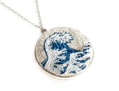 The Great Wave, Hokusai, Miniature Art embroidery, Hokusai Pendant, Statement Necklace, Gift for her, Embroidered Jewellery, Fiber Art, Wave