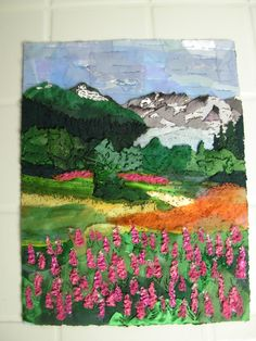 Fireweed and Mendenhall Glacier, created with a soldering iron.