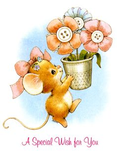 a special wish for you Cartoon Pics, Cute Cartoon, Mouse Pictures, Image Digital, Hamster, Cute Mouse, Card Sentiments, Cute Clipart, Holly Hobbie
