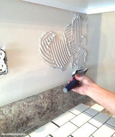 DIY: kitchen backsplash mortar trowel
