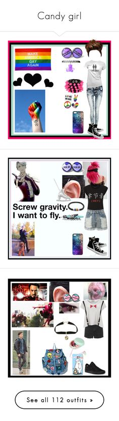 """""""Candy girl"""" by thin-mint on Polyvore featuring Pilot, Converse, Mia Bag, Brika, Allurez, LE3NO, Bling Jewelry, Hot Topic, Topshop and Warner Bros."""
