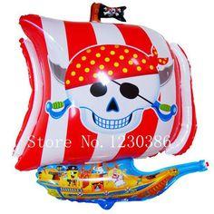 Пиратский корабль фольги воздушный шар мультфильм ну вечеринку украшения воздушные шарики купить на AliExpress