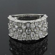 14k White Gold 2.80ct VVS1 Multi Cut Diamond Wide Band Ring & FREE STUD GIFT #Affinityjewelry #WideBand