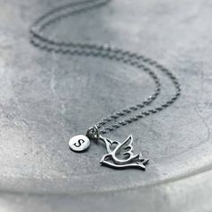 personalized silver dove necklace